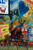 Prague, Czech Republic - John Lennon Wall / Statue Of Liberty Royalty Free Stock Photos
