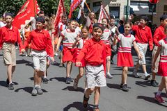 Children parading at the Sokol festival in the streets of Prague Royalty Free Stock Images