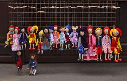 Market stall with marionettes in Prague Czech Republic stock images
