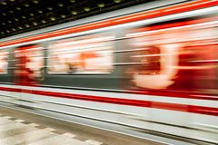 Fast train and empty subway station. PRAGUE, CZECH REPUBLIC - JULY 2: Fast train and Empty subway Malostranska station on July 2, 2017 in Prague Royalty Free Stock Photos