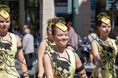 Majorettes parading at the Sokol festival in the streets of Prag Royalty Free Stock Images