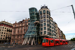 PRAGUE, CZECH REPUBLIC - July 16, 2017: Modern building, also known as the Dancing House, designed by Vlado Milunic and stock image
