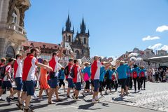 PRAGUE, CZECH REPUBLIC - JULY 1, 2018: People parading at Sokolsky Slet, a once-every-six-years gathering of the Sokol movement - stock photo