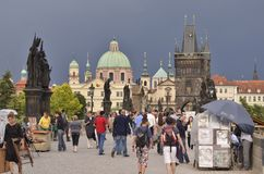 Tourists in Old Town Prague Czech Republic royalty free stock photos
