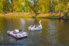 Boats on river Vltava stock images