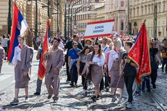 People parading at the Sokol festival in the streets of Prague royalty free stock images