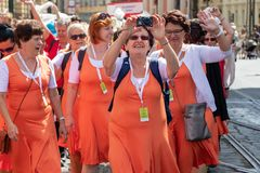PRAGUE, CZECH REPUBLIC - JULY 1, 2018: Women parading at Sokolsky Slet, a once-every-six-years gathering of the Sokol movement - a royalty free stock photography