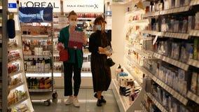 Free PRAGUE, CZECH REPUBLIC, JUNE 22, 2020: Coronavirus Mask Face Cosmetics Drugstore Chemist`s Shop Shopping Center, Market Stock Photography - 191228632