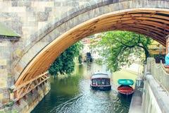 Prague, Czech Republic june 2010. Bridge over the river Certovka in sunny day royalty free stock photos