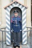 Castle guard man on duty post in Prague, Czech Republic Stock Photo