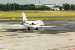 PRAGUE, CZECH REPUBLIC - JUNE 16, 2017: Cessna 680 Citation Sovereign OK-EMA Is preparing to take off. PRAGUE, CZECH REPUBLIC - JUNE 16, 2017: Cessna 680 Royalty Free Stock Image