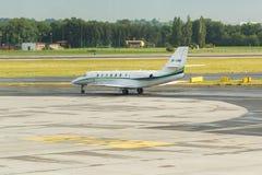 PRAGUE, CZECH REPUBLIC - JUNE 16, 2017: Cessna 680 Citation Sovereign OK-EMA Is preparing to take off. PRAGUE, CZECH REPUBLIC - JUNE 16, 2017: Cessna 680 Royalty Free Stock Photography