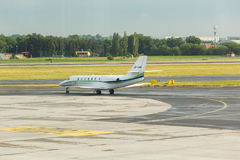 PRAGUE, CZECH REPUBLIC - JUNE 16, 2017: Cessna 680 Citation Sovereign OK-EMA Is preparing to take off. PRAGUE, CZECH REPUBLIC - JUNE 16, 2017: Cessna 680 Stock Image