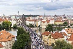 Prague, Czech Republic - June 19, 2015: Charles Bridge from abov Stock Photography