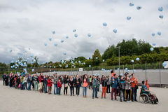 PRAGUE, CZECH REPUBLIC, JUNE 21, 2014 - Children with transplanted bone marrow celebrating the 25th anniversary of the first trans Stock Images