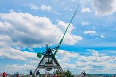 PRAGUE, CZECH REPUBLIC - JUNE 17, 2016: Giant Metronome on a hill Royalty Free Stock Photo
