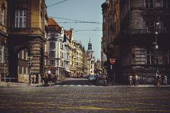Historical architecture tourists ride horses in carriages. Prague, Czech Republic Royalty Free Stock Images