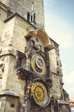 Historical medieval astronomical clock in the Old Town Hall in Prague, Czech Republic royalty free stock photography