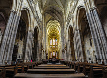 Prague, Czech Republic - June 18, 2012: Interior of St. Vitus Cathedral, the main cathedral in Prague Stock Image