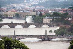 Prague, Czech Republic - June 3: Massive Rain Caused Floods in Czech Capital City on june 3, 2013. Stock Photo