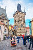 People at Charles Bridge in Prague Royalty Free Stock Image