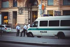 Police in the street prague. PRAGUE, CZECH REPUBLIC - JUNE 2016:  police in the street prague Stock Image