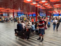 Prague Main Station Interior Crowded with Travellers. Prague, Czech Republic - June 10 2019: Prague Main Station Interior Crowded with Travellers. A Bustling royalty free stock image