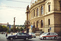 Taxi on the street in Prague, waiting for tourists Royalty Free Stock Photography