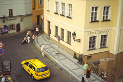Taxi on the street in Prague, waiting for tourists Royalty Free Stock Photo