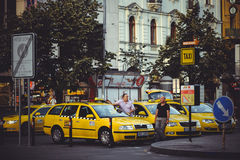 Taxi on the street in Prague, waiting for tourists Stock Photography