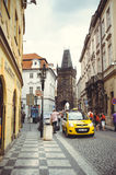 Taxi on the street in Prague, waiting for tourists Stock Photo