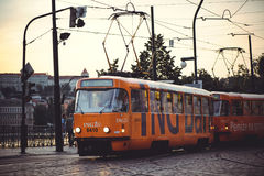 Trams on the street in Prague, public transport Stock Photography