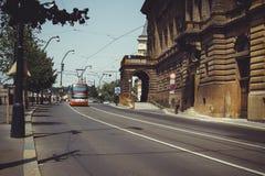 Trams on the street in Prague, public transport Stock Photo