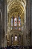 Vitrage Glass inside of St. Vitus Cathedral Royalty Free Stock Image