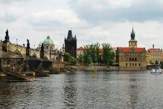 Prague, Czech Republic. Karl's Bridge, Prague, Czech Republic. The famouse bridge across the river Vltava and boat on it stock photo