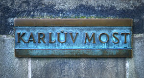 Prague, Czech Republic, Karluv most name board Royalty Free Stock Photos