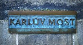Prague, Czech Republic, Karluv most name board Royalty Free Stock Photos