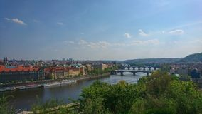 Looking at the cityscape of Prague, Letna Park stock photography