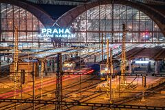 Free PRAGUE, CZECH REPUBLIC, MARCH 2020: Night View Of The Main Hall Of The Prague Main Train Station. Long Exposure Railway Stock Photos - 177860843