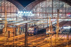 Free PRAGUE, CZECH REPUBLIC, MARCH 2020: Night View Of The Main Hall Of The Prague Main Train Station. Long Exposure Railway Royalty Free Stock Photos - 178652678