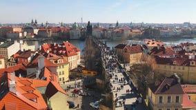 Prague, Czech Republic,Charles Bridge Karluv Most over the Vltava river. Prague, Czech Republic - March 4, 2017: Aerial view of Charles Bridge Karluv Most over stock video footage