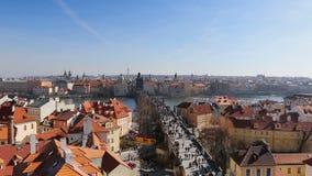 Prague, Czech Republic,Charles Bridge Karluv Most over the Vltava river. Prague, Czech Republic - March 4, 2017: Aerial view of Charles Bridge Karluv Most over stock video