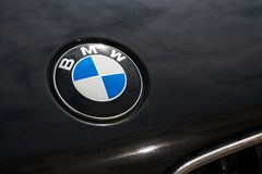 BMW automotive company logo on car bonnet. PRAGUE, CZECH REPUBLIC - MARCH 29 2018: BMW automotive company logo on car bonnet on on March 29, 2018 in Prague Royalty Free Stock Image