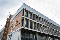 Ceska televize public television broadcaster logo on headquarters building. PRAGUE, CZECH REPUBLIC - MARCH 9 2018: Ceska televize public television broadcaster Royalty Free Stock Photography
