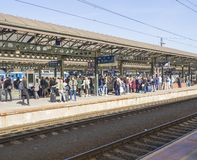 Prague, Czech Republic, March 23, 2019: Crowd of People at the train platform are waiting for the train at the Prague stock image