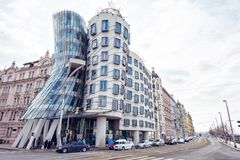 Dancing House at sunset stock image