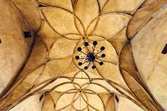 Flower shape patterned ceiling of the Vladislav Hall. PRAGUE, CZECH REPUBLIC - MARCH 23, 2018: Flower shape patterned ceiling of the Vladislav Hall in The Old royalty free stock image