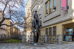 Franz Kafka statue in Prague. Prague, Czech Republic - March 15, 2017: Franz Kafka statue in the Jewish quarter by artist Jaroslav Rona stock photos