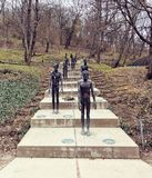 Memorial to the Victims of Communism. PRAGUE, CZECH REPUBLIC - MARCH 24, 2018: Memorial to the Victims of Communism, made by sculptor Olbram Zoube. Dramatic royalty free stock image