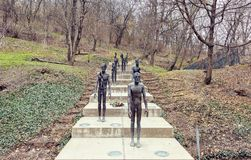 Memorial to the Victims of Communism. PRAGUE, CZECH REPUBLIC - MARCH 24, 2018: Memorial to the Victims of Communism, made by sculptor Olbram Zoube. Dramatic royalty free stock photos